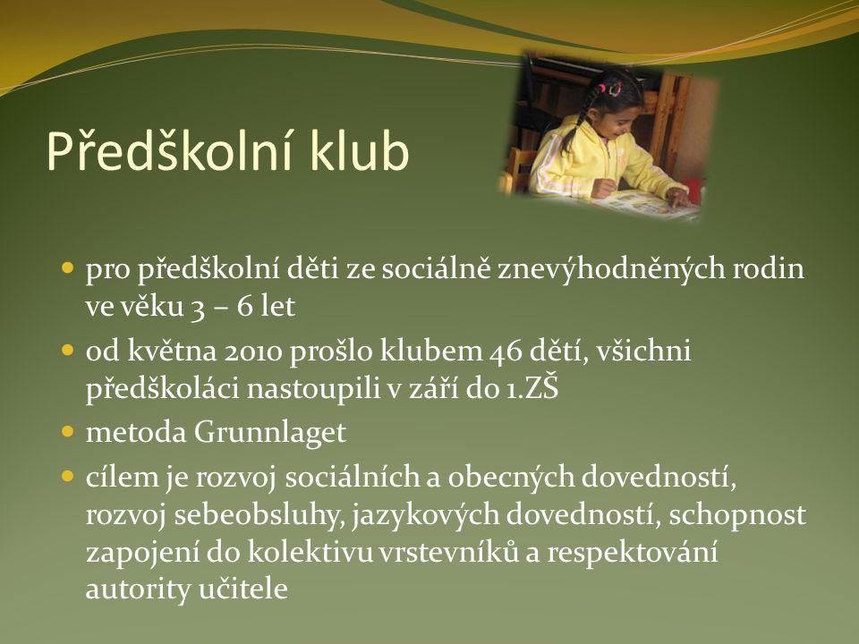 Předškolní klub pro předškolní děti ze sociálně znevýhodněných rodin ve věku 3 – 6 let od května 2010 prošlo klubem 46 dětí, všichni předškoláci nasto