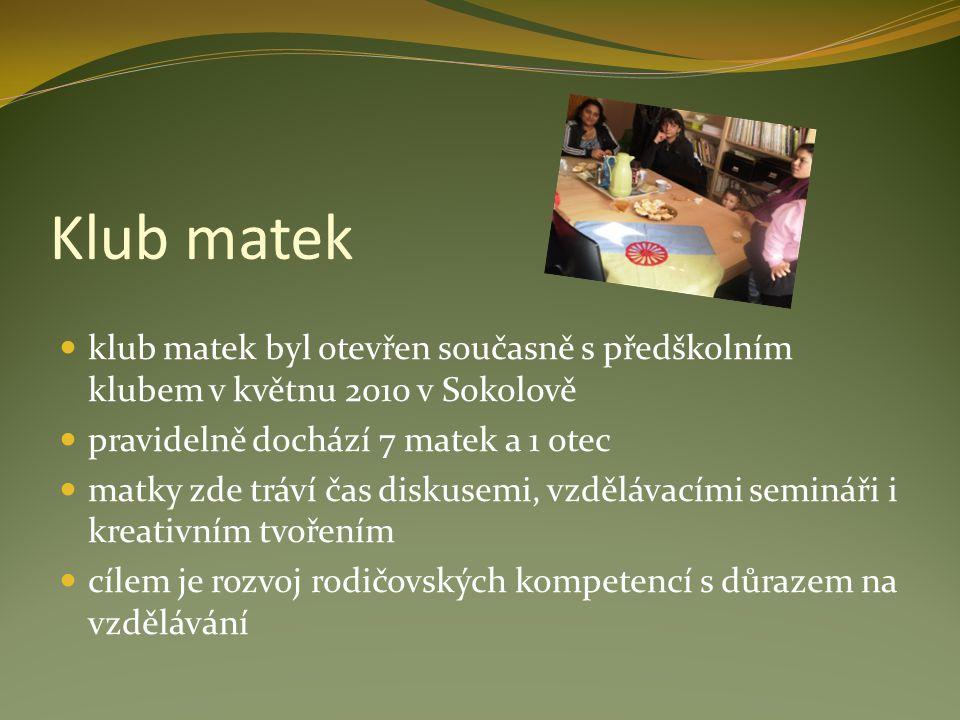 Klub matek klub matek byl otevřen současně s předškolním klubem v květnu 2010 v Sokolově pravidelně dochází 7 matek a 1 otec matky zde tráví čas disku