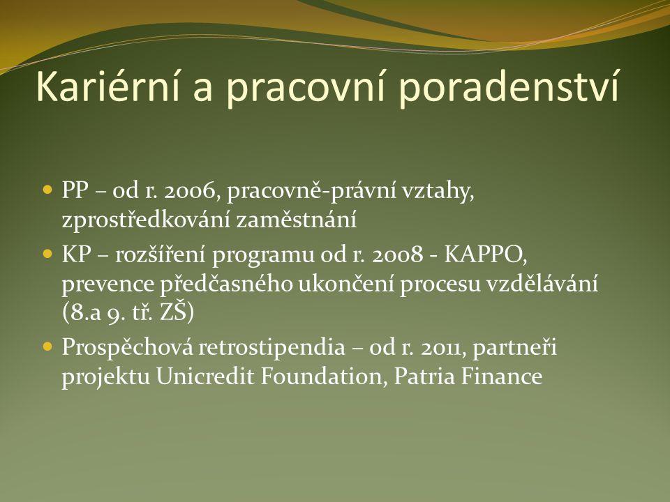 Kariérní a pracovní poradenství PP – od r. 2006, pracovně-právní vztahy, zprostředkování zaměstnání KP – rozšíření programu od r. 2008 - KAPPO, preven