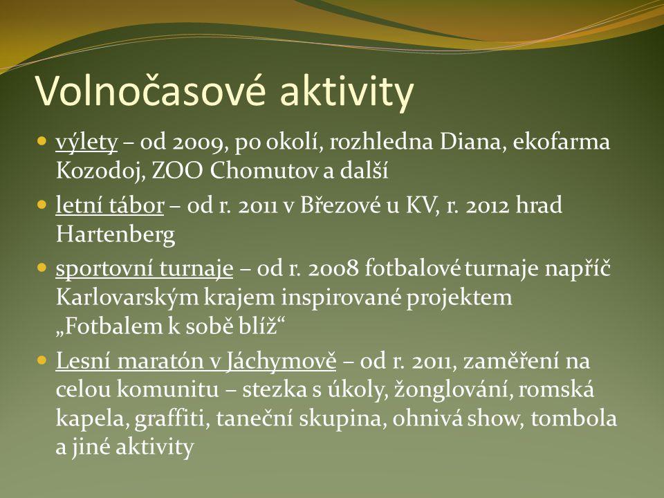 Volnočasové aktivity výlety – od 2009, po okolí, rozhledna Diana, ekofarma Kozodoj, ZOO Chomutov a další letní tábor – od r. 2011 v Březové u KV, r. 2
