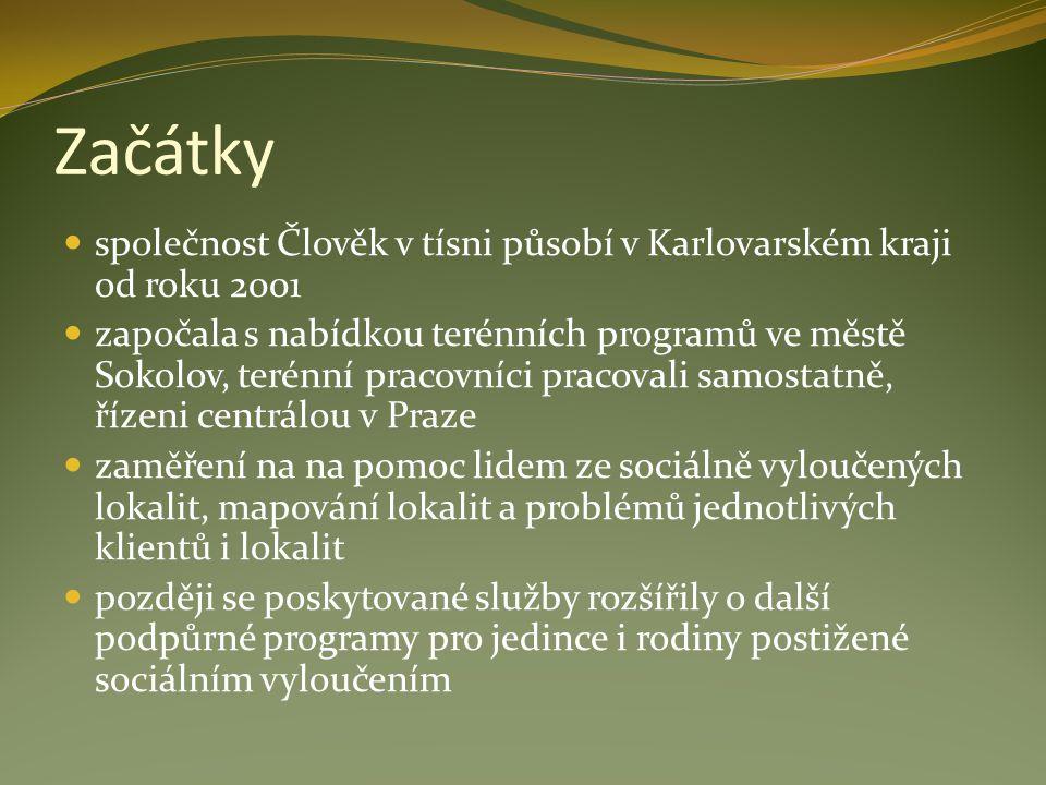 Začátky společnost Člověk v tísni působí v Karlovarském kraji od roku 2001 započala s nabídkou terénních programů ve městě Sokolov, terénní pracovníci