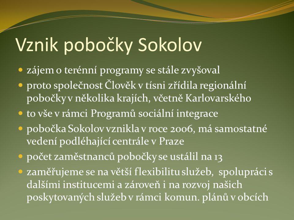 Vznik pobočky Sokolov zájem o terénní programy se stále zvyšoval proto společnost Člověk v tísni zřídila regionální pobočky v několika krajích, včetně