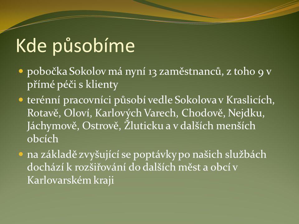 Kde působíme pobočka Sokolov má nyní 13 zaměstnanců, z toho 9 v přímé péči s klienty terénní pracovníci působí vedle Sokolova v Kraslicích, Rotavě, Ol