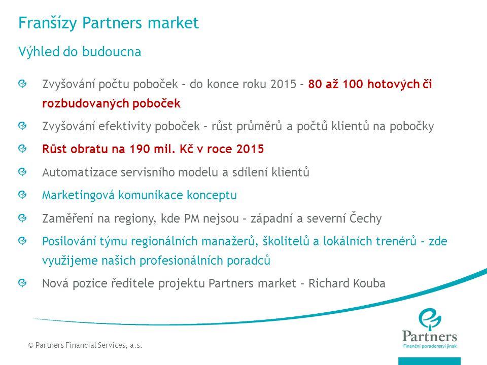 © Partners For Life Planning Franšízy Partners market Zvyšování počtu poboček – do konce roku 2015 – 80 až 100 hotových či rozbudovaných poboček Zvyšo