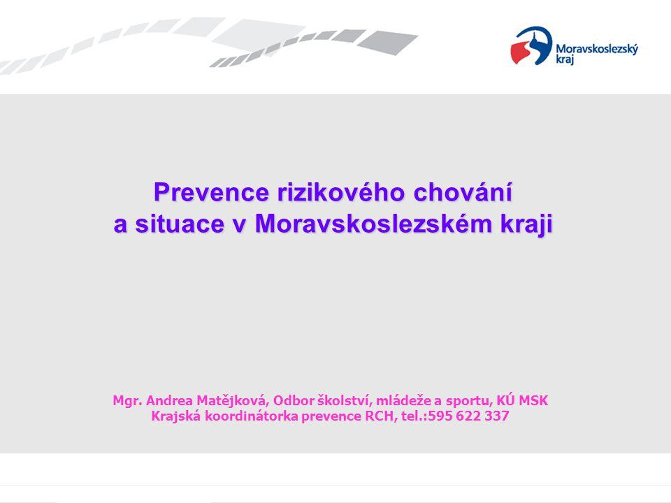 Prevence rizikového chování a situace v Moravskoslezském kraji Mgr. Andrea Matějková, Odbor školství, mládeže a sportu, KÚ MSK Krajská koordinátorka p