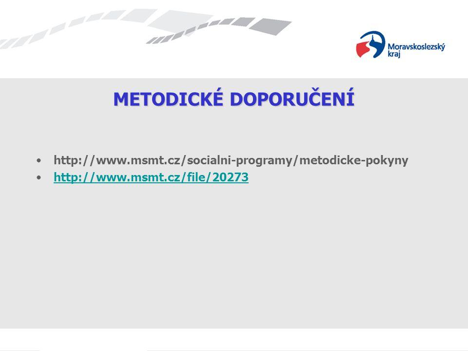 METODICKÉ DOPORUČENÍ http://www.msmt.cz/socialni-programy/metodicke-pokyny http://www.msmt.cz/file/20273
