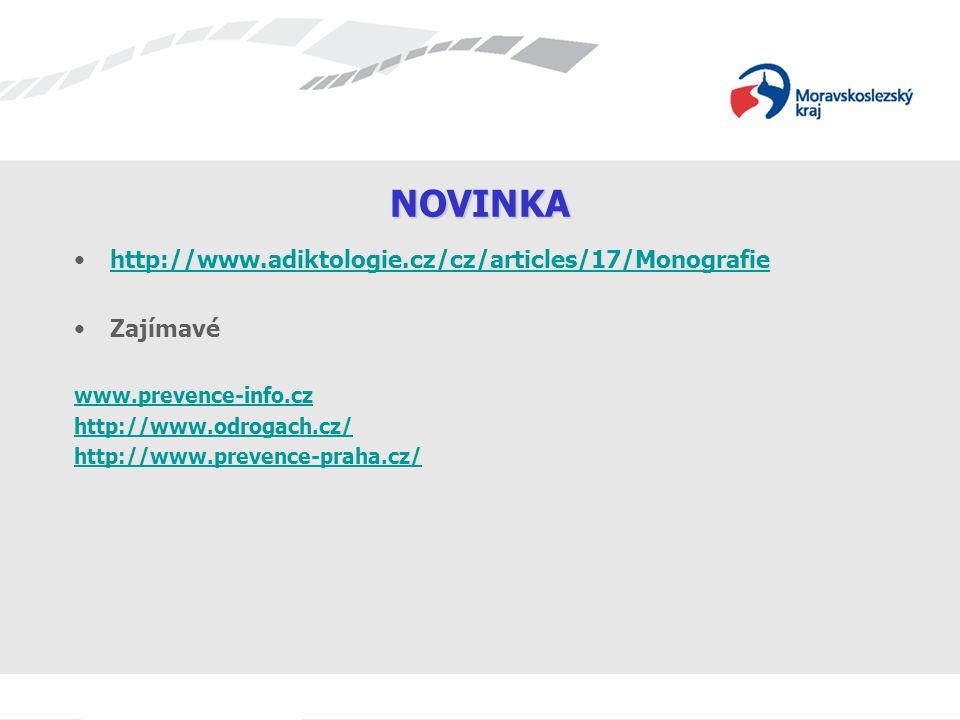 NOVINKA http://www.adiktologie.cz/cz/articles/17/Monografie Zajímavé www.prevence-info.cz http://www.odrogach.cz/ http://www.prevence-praha.cz/