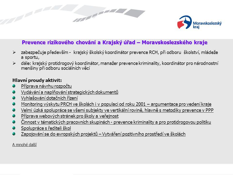 Prevence rizikového chování a Krajský úřad – Moravskoslezského kraje  zabezpečuje především - krajský školský koordinátor prevence RCH, při odboru šk
