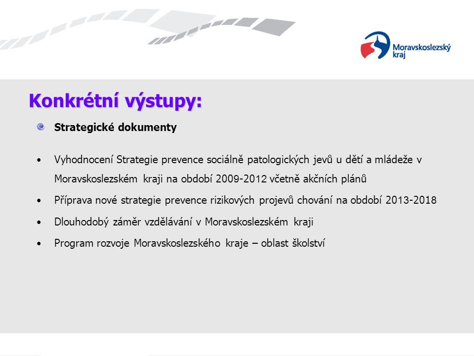 Konkrétní výstupy: Strategické dokumenty Vyhodnocení Strategie prevence sociálně patologických jevů u dětí a mládeže v Moravskoslezském kraji na obdob