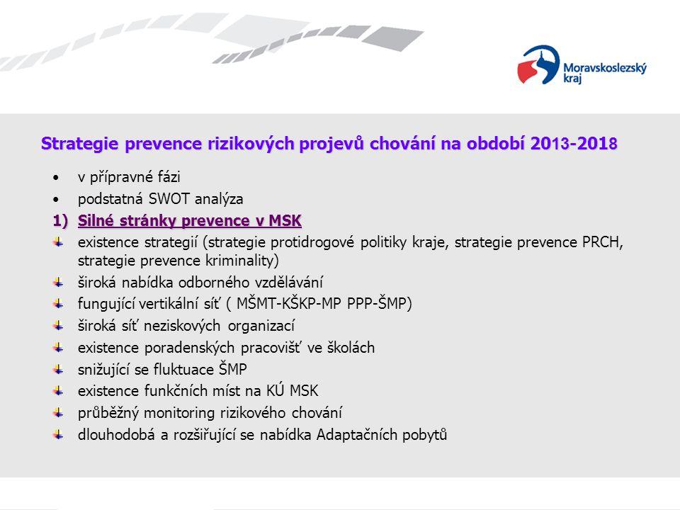 Strategie prevence rizikových projevů chování na období 20 13 -201 8 v přípravné fázi podstatná SWOT analýza 1)Silné stránky prevence v MSK existence