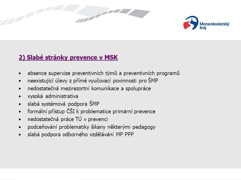 2) Slabé stránky prevence v MSK absence supervize preventivních týmů a preventivních programů neexistující úlevy z přímé vyučovací povinnosti pro ŠMP
