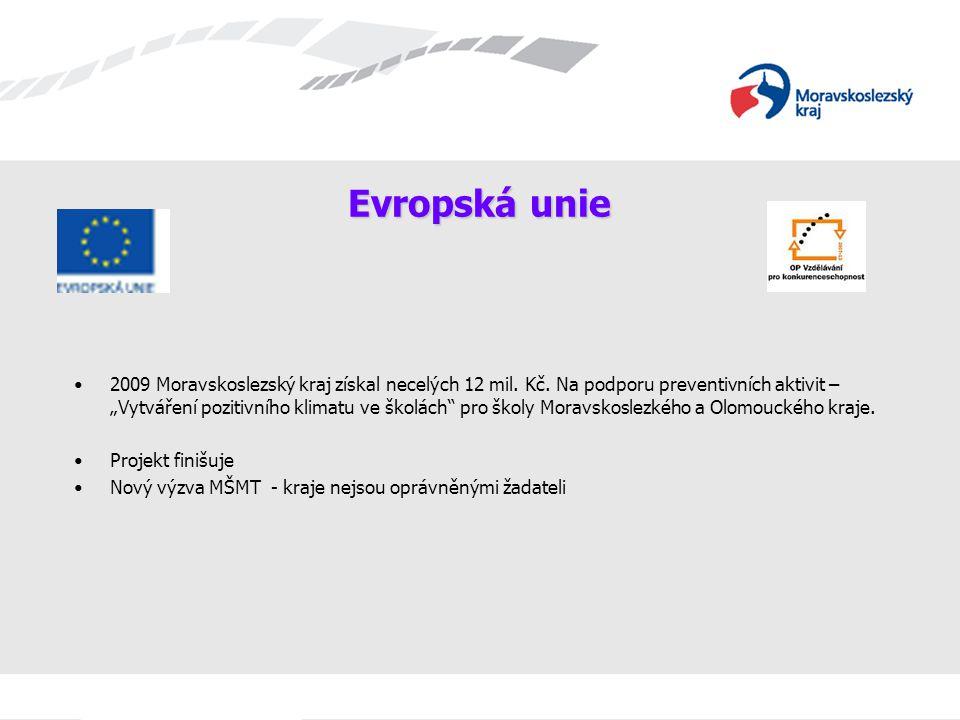 """Evropská unie 2009 Moravskoslezský kraj získal necelých 12 mil. Kč. Na podporu preventivních aktivit – """"Vytváření pozitivního klimatu ve školách"""" pro"""