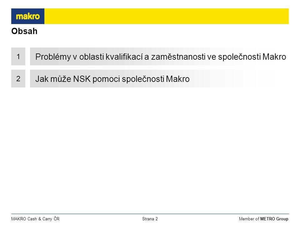 Member of METRO GroupMAKRO Cash & Carry ČRStrana 2 Obsah 1 Problémy v oblasti kvalifikací a zaměstnanosti ve společnosti Makro 2 Jak může NSK pomoci společnosti Makro