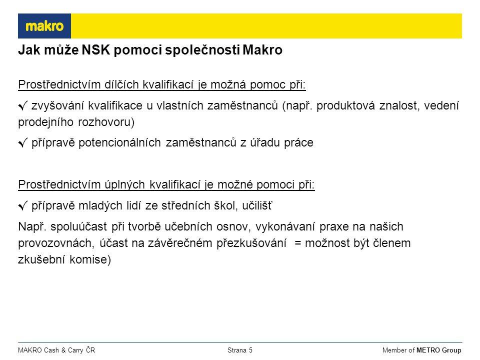 Member of METRO GroupMAKRO Cash & Carry ČRStrana 5 Jak může NSK pomoci společnosti Makro Prostřednictvím dílčích kvalifikací je možná pomoc při: √ zvyšování kvalifikace u vlastních zaměstnanců (např.