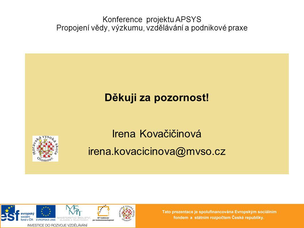 Děkuji za pozornost! Irena Kovačičinová irena.kovacicinova@mvso.cz Konference projektu APSYS Propojení vědy, výzkumu, vzdělávání a podnikové praxe