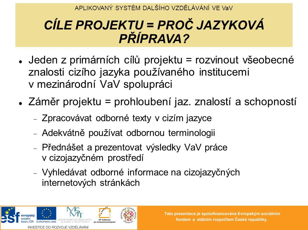Jeden z primárních cílů projektu = rozvinout všeobecné znalosti cizího jazyka používaného institucemi v mezinárodní VaV spolupráci Záměr projektu = prohloubení jaz.