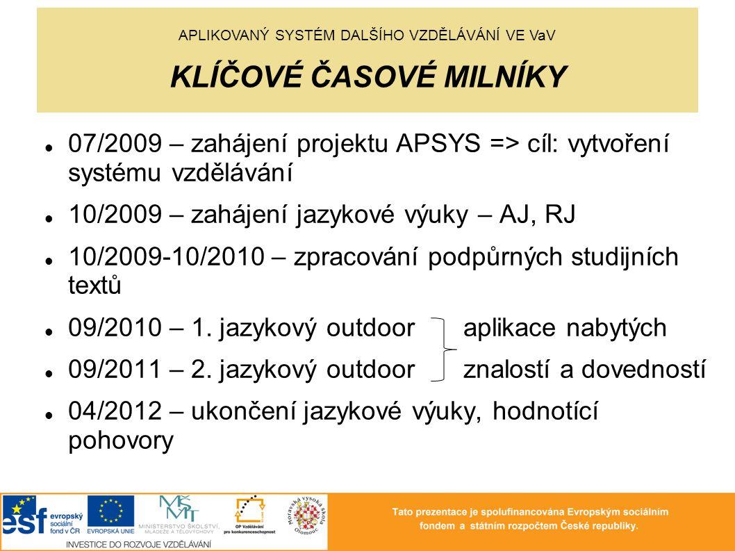 07/2009 – zahájení projektu APSYS => cíl: vytvoření systému vzdělávání 10/2009 – zahájení jazykové výuky – AJ, RJ 10/2009-10/2010 – zpracování podpůrných studijních textů 09/2010 – 1.