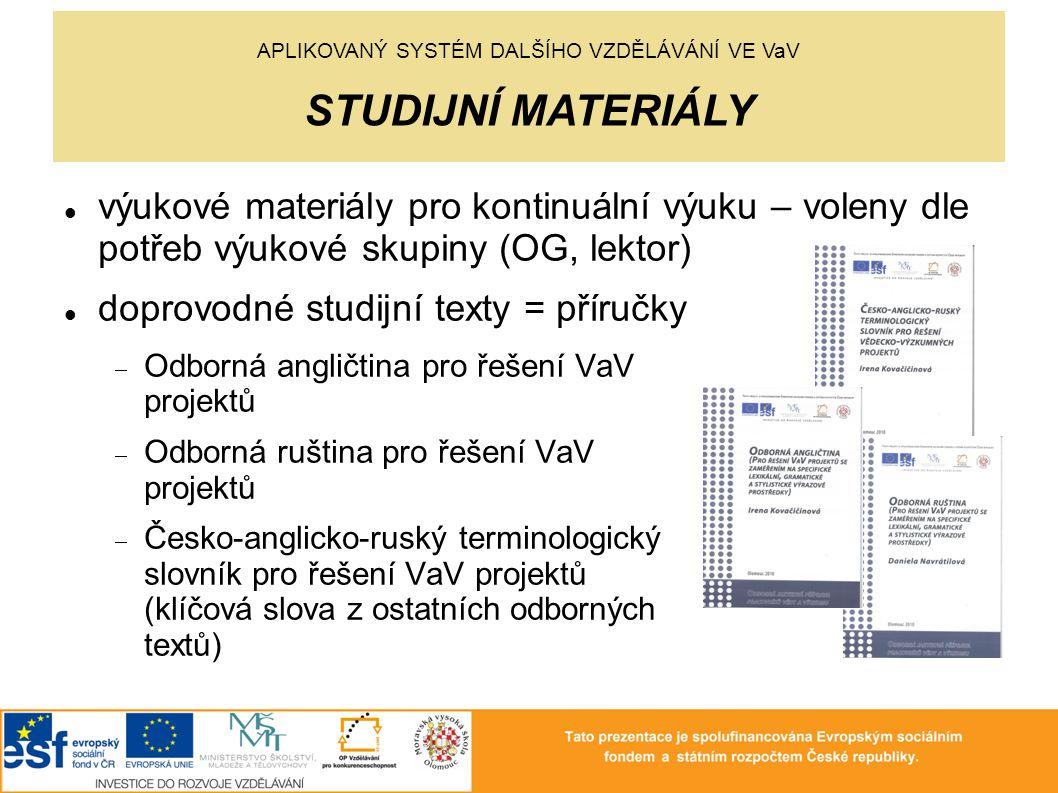 výukové materiály pro kontinuální výuku – voleny dle potřeb výukové skupiny (OG, lektor) doprovodné studijní texty = příručky  Odborná angličtina pro