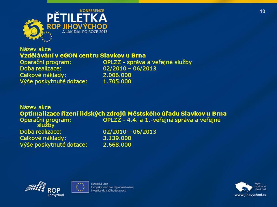 10 Název akce Vzdělávání v eGON centru Slavkov u Brna Operační program:OPLZZ - správa a veřejné služby Doba realizace: 02/2010 – 06/2013 Celkové nákla