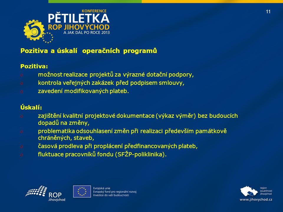 11 Pozitiva a úskalí operačních programů Pozitiva: o možnost realizace projektů za výrazné dotační podpory, o kontrola veřejných zakázek před podpisem