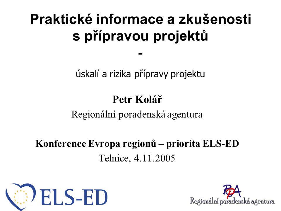 Postup při přípravě projektů Myšlenka klienta Formování projektového záměru Spojení projektu s odpovídajícím dotačním programem Kontrola naplnění formálních podmínek a legislativy EU Návrh financování projektu Příprava projektu
