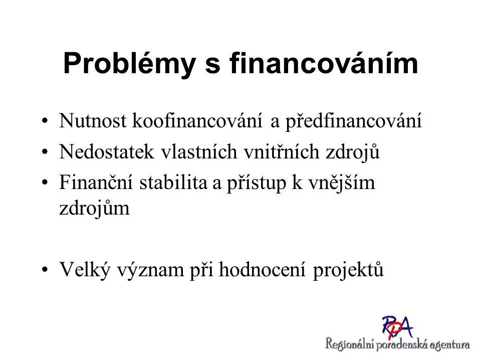 Problémy s financováním Nutnost koofinancování a předfinancování Nedostatek vlastních vnitřních zdrojů Finanční stabilita a přístup k vnějším zdrojům
