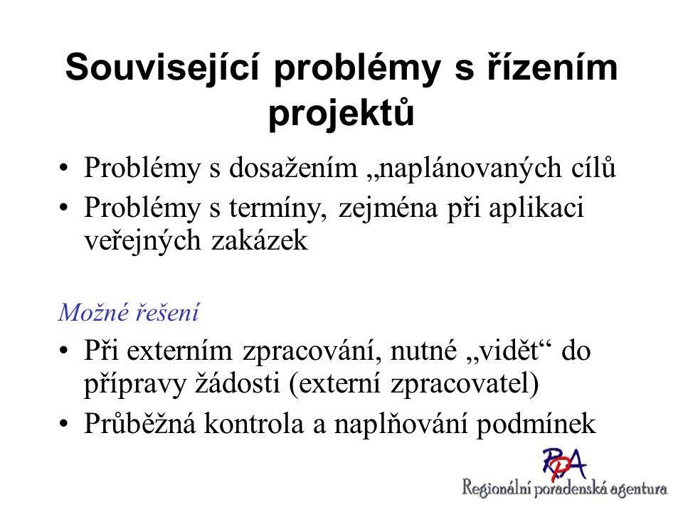 """Související problémy s řízením projektů Problémy s dosažením """"naplánovaných cílů Problémy s termíny, zejména při aplikaci veřejných zakázek Možné řeše"""