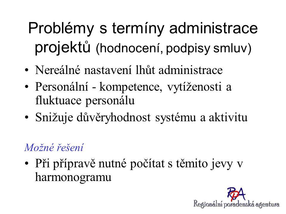 Problémy s termíny administrace projektů (hodnocení, podpisy smluv) Nereálné nastavení lhůt administrace Personální - kompetence, vytíženosti a fluktu