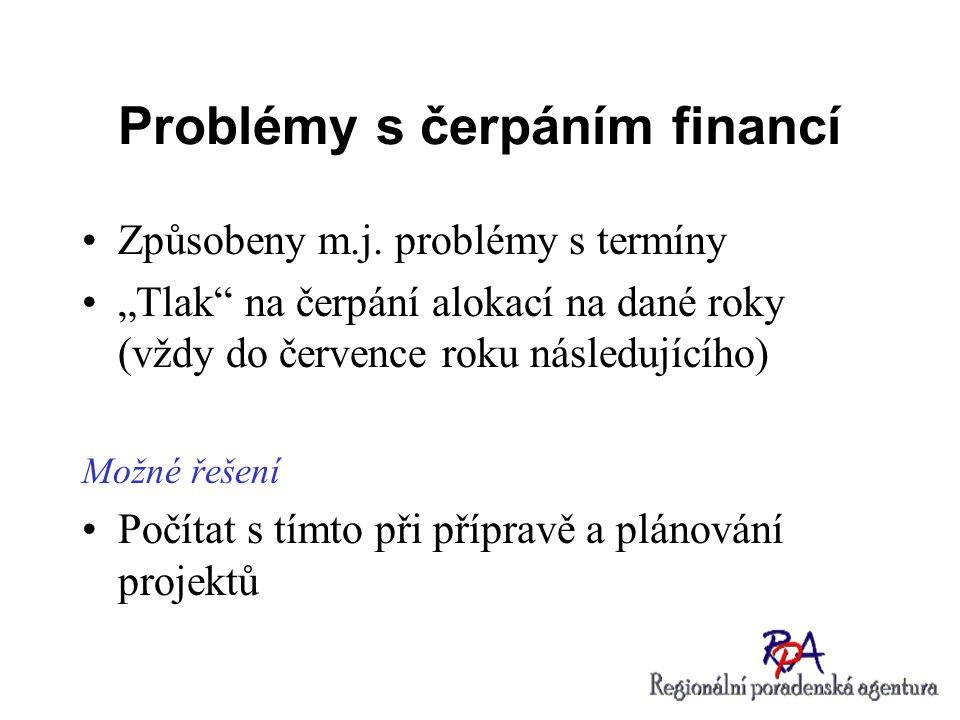 """Problémy s čerpáním financí Způsobeny m.j. problémy s termíny """"Tlak"""" na čerpání alokací na dané roky (vždy do července roku následujícího) Možné řešen"""