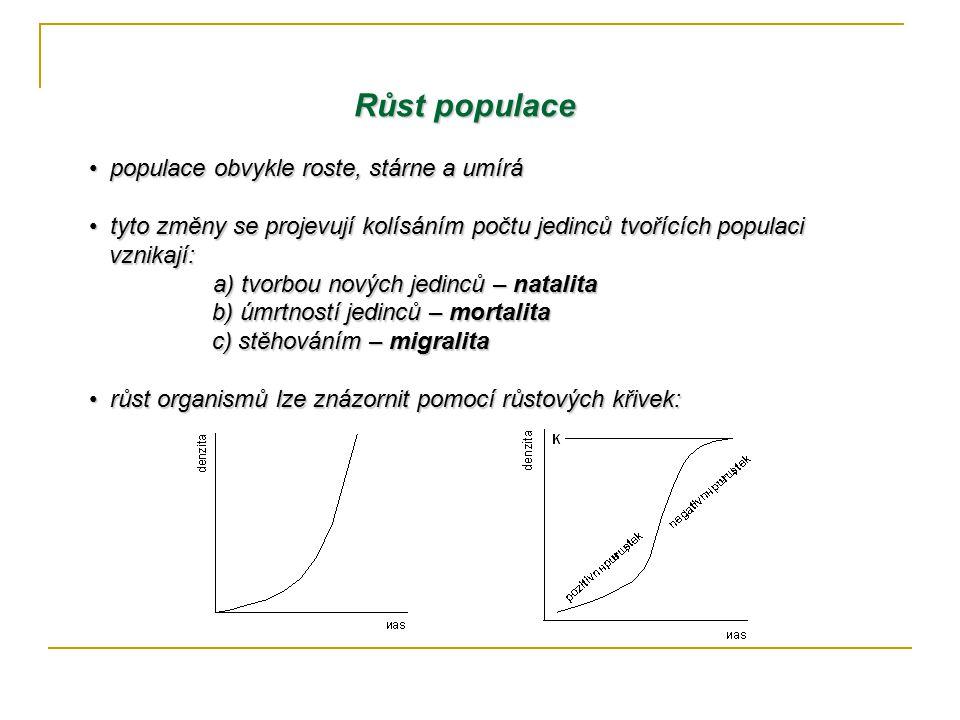 řivka růstu tvaru písmena J Křivka růstu tvaru písmena J představuje situaci růstu v neomezeném představuje situaci růstu v neomezeném prostoru, kde je stálý dostatek živin a energie prostoru, kde je stálý dostatek živin a energie po počáteční fázi pozvolného růstu následuje po počáteční fázi pozvolného růstu následuje fáze prudkého růstu, který se zastaví, když fáze prudkého růstu, který se zastaví, když populace překročí únosnou kapacitu prostředí; populace překročí únosnou kapacitu prostředí; poté zpravidla prudce klesá zpět do nízkých poté zpravidla prudce klesá zpět do nízkých hodnot hodnot tato forma populačního růstu platí např.