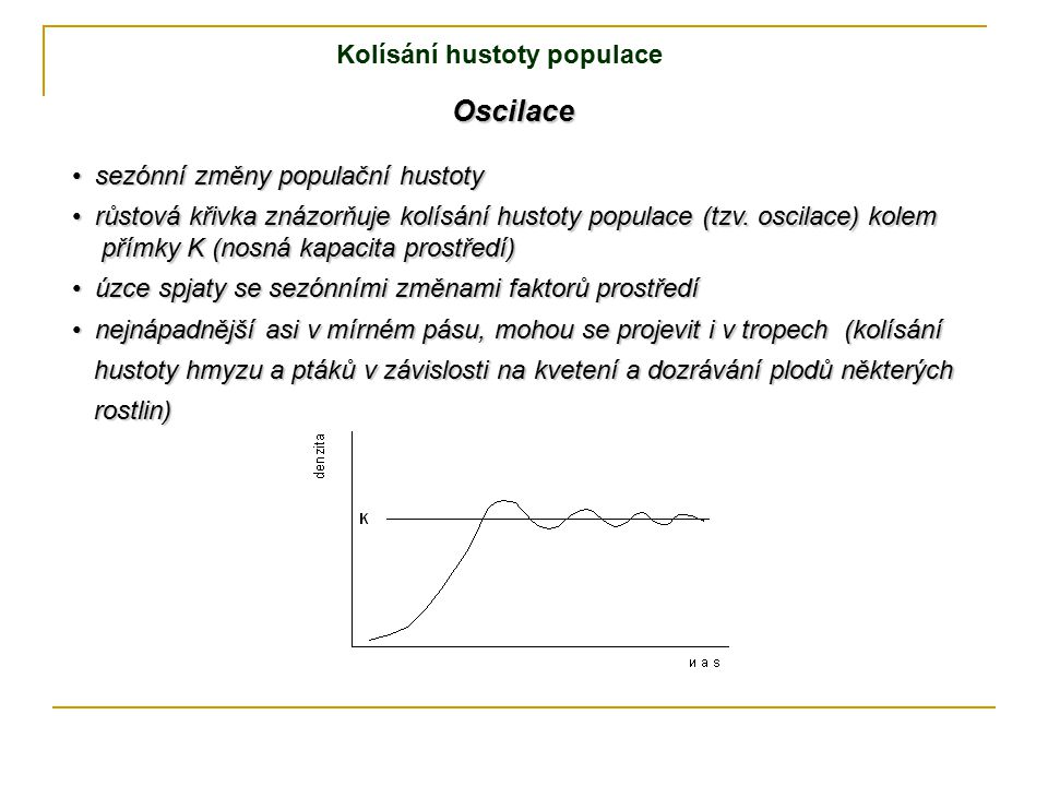 růstová křivka znázorňuje kolísání hustoty populace (tzv. oscilace) kolem růstová křivka znázorňuje kolísání hustoty populace (tzv. oscilace) kolem př
