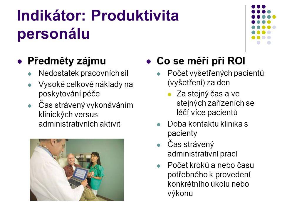Indikátor: Produktivita personálu Předměty zájmu Nedostatek pracovních sil Vysoké celkové náklady na poskytování péče Čas strávený vykonáváním klinických versus administrativních aktivit Co se měří při ROI Počet vyšetřených pacientů (vyšetření) za den Za stejný čas a ve stejných zařízeních se léčí více pacientů Doba kontaktu klinika s pacienty Čas strávený administrativní prací Počet kroků a nebo času potřebného k provedení konkrétního úkolu nebo výkonu