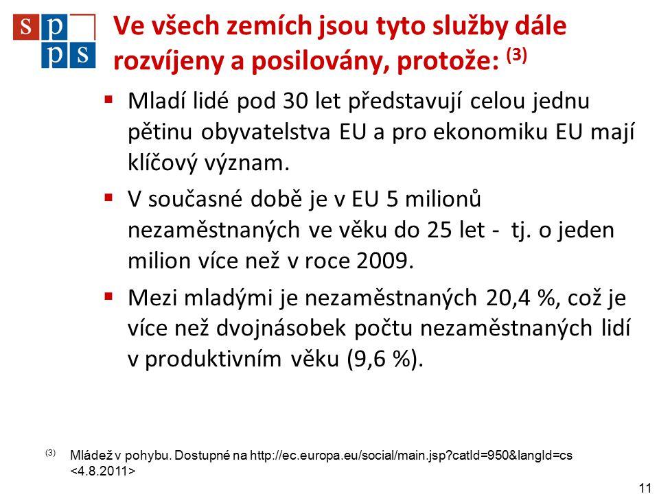 Ve všech zemích jsou tyto služby dále rozvíjeny a posilovány, protože: (3)  Mladí lidé pod 30 let představují celou jednu pětinu obyvatelstva EU a pro ekonomiku EU mají klíčový význam.