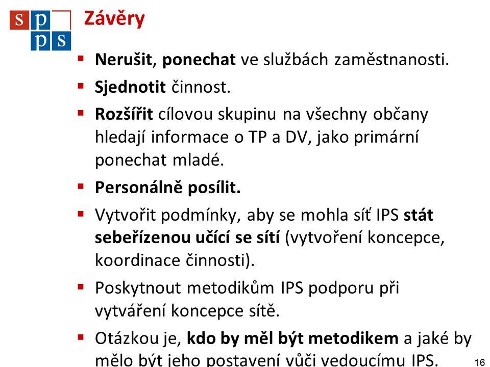 Závěry  Nerušit, ponechat ve službách zaměstnanosti.