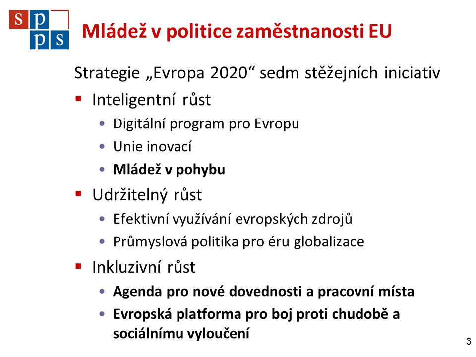 """Mládež v politice zaměstnanosti EU Strategie """"Evropa 2020 sedm stěžejních iniciativ  Inteligentní růst Digitální program pro Evropu Unie inovací Mládež v pohybu  Udržitelný růst Efektivní využívání evropských zdrojů Průmyslová politika pro éru globalizace  Inkluzivní růst Agenda pro nové dovednosti a pracovní místa Evropská platforma pro boj proti chudobě a sociálnímu vyloučení 3"""