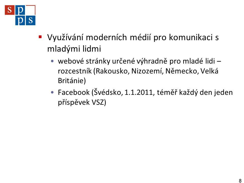  Využívání moderních médií pro komunikaci s mladými lidmi webové stránky určené výhradně pro mladé lidi – rozcestník (Rakousko, Nizozemí, Německo, Velká Británie) Facebook (Švédsko, 1.1.2011, téměř každý den jeden příspěvek VSZ) 8