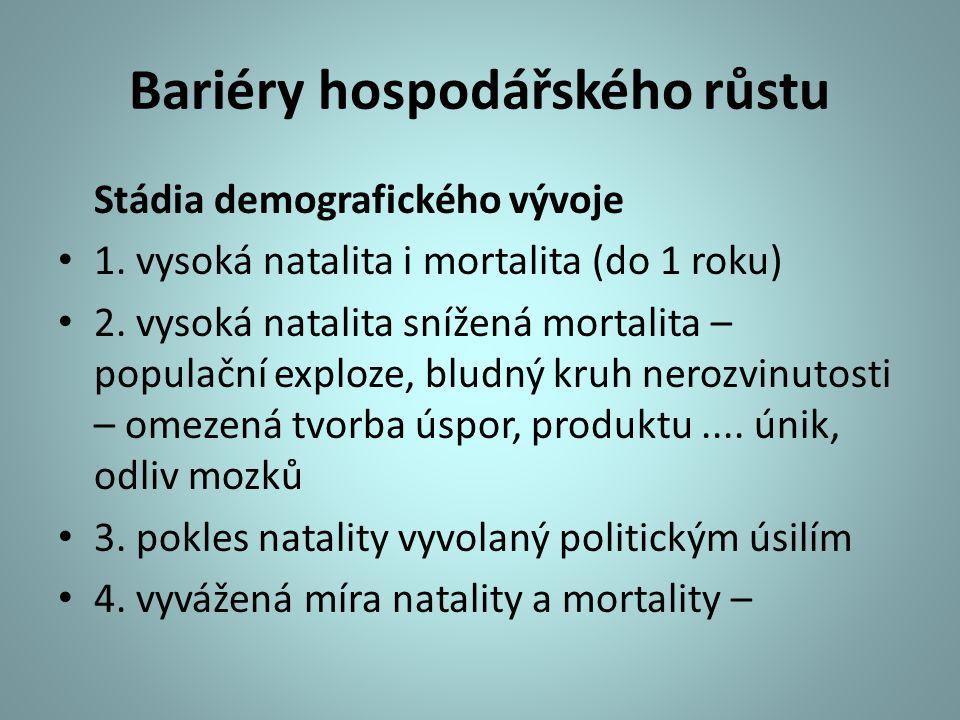 Bariéry hospodářského růstu Stádia demografického vývoje 1.