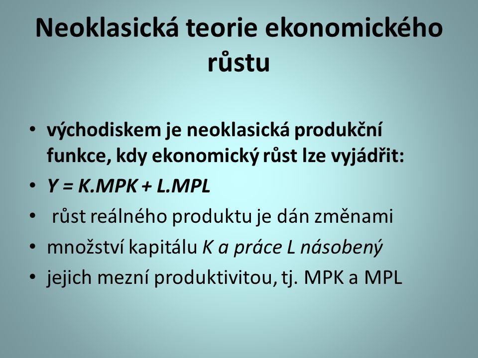 Neoklasická teorie ekonomického růstu východiskem je neoklasická produkční funkce, kdy ekonomický růst lze vyjádřit: Y = K.MPK + L.MPL růst reálného produktu je dán změnami množství kapitálu K a práce L násobený jejich mezní produktivitou, tj.