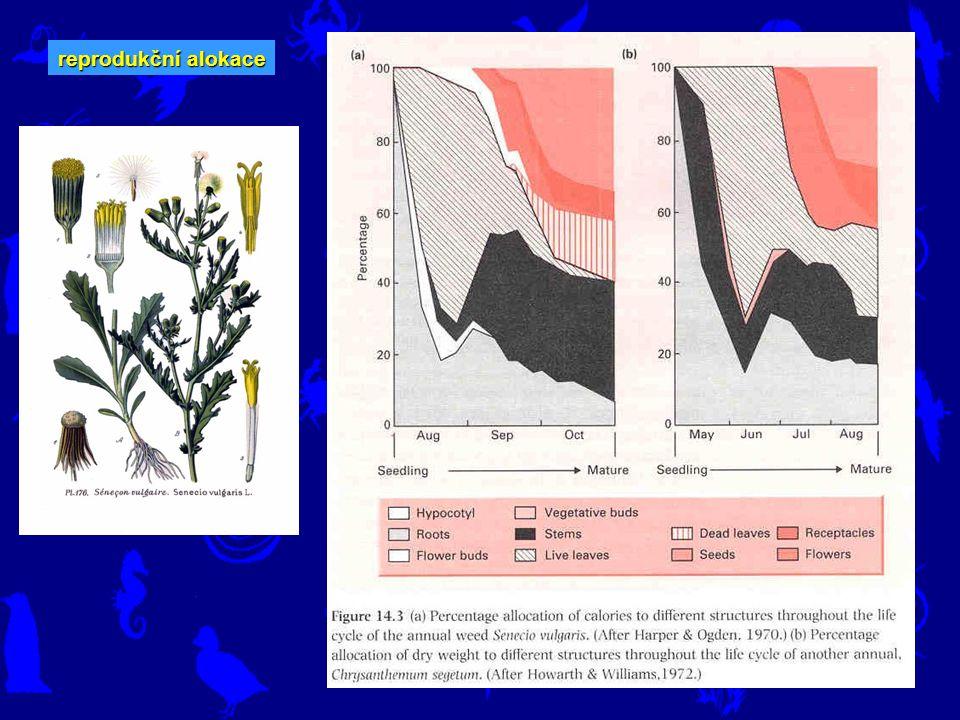 Životní strategie - komponenty reprodukční alokace hmotnost gonád x hmotnost těla hmotnost semen x biomasa rostliny velikost snůšky x hmotnost těla Pokud dojde ve studiích na měření reprodukční alokace, počítá se s tím, že se zdroje nějak rozdělují (aniž bychom věděli, jaké zdroje to jsou) – proto jsou častým vyjádřením reprodukční alokace poměry typu hmotnost gonád x hmotnost těla nebo hmotnost semen x biomasa rostliny nebo velikost snůšky x hmotnost těla.
