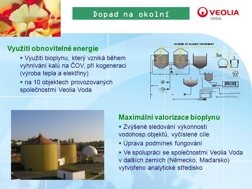 Využití obnovitelné energie  Využití bioplynu, který vzniká během vyhnívání kalů na ČOV, při kogeneraci (výroba tepla a elektřiny)  na 10 objektech provozovaných společnostmi Veolia Voda Dopad na okolní prostředí Maximální valorizace bioplynu  Zvýšené sledování výkonnosti vodohosp.objektů, vyčíslené cíle  Úprava podmínek fungování  Ve spolupráci se společnostmi Veolia Voda v dalších zemích (Německo, Maďarsko) vytvořeno analytické středisko