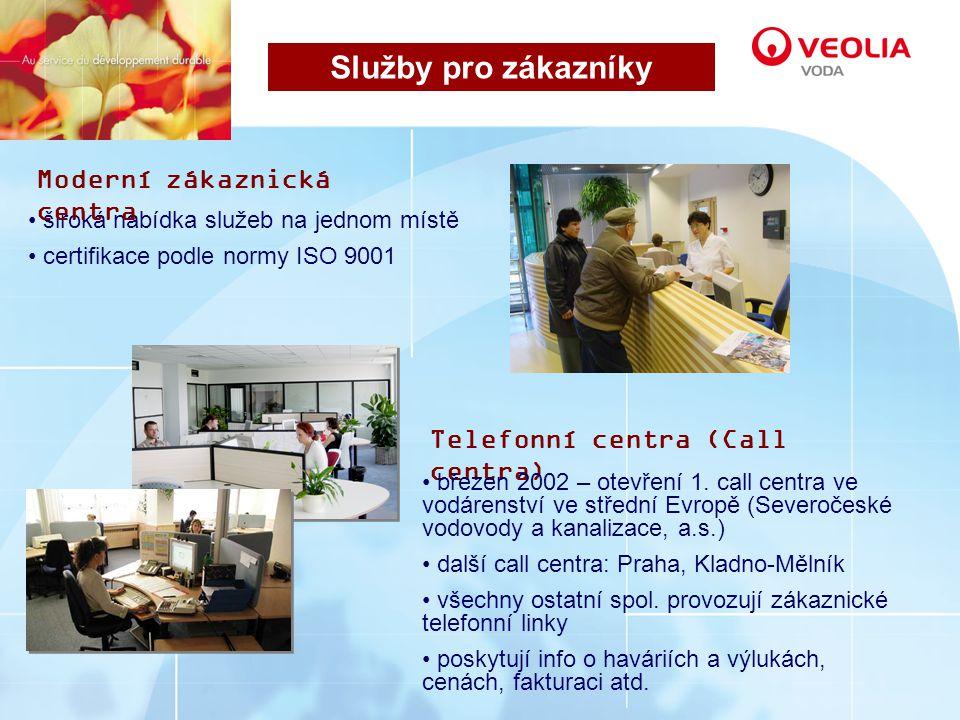 široká nabídka služeb na jednom místě certifikace podle normy ISO 9001 Služby pro zákazníky Moderní zákaznická centra Telefonní centra (Call centra) březen 2002 – otevření 1.