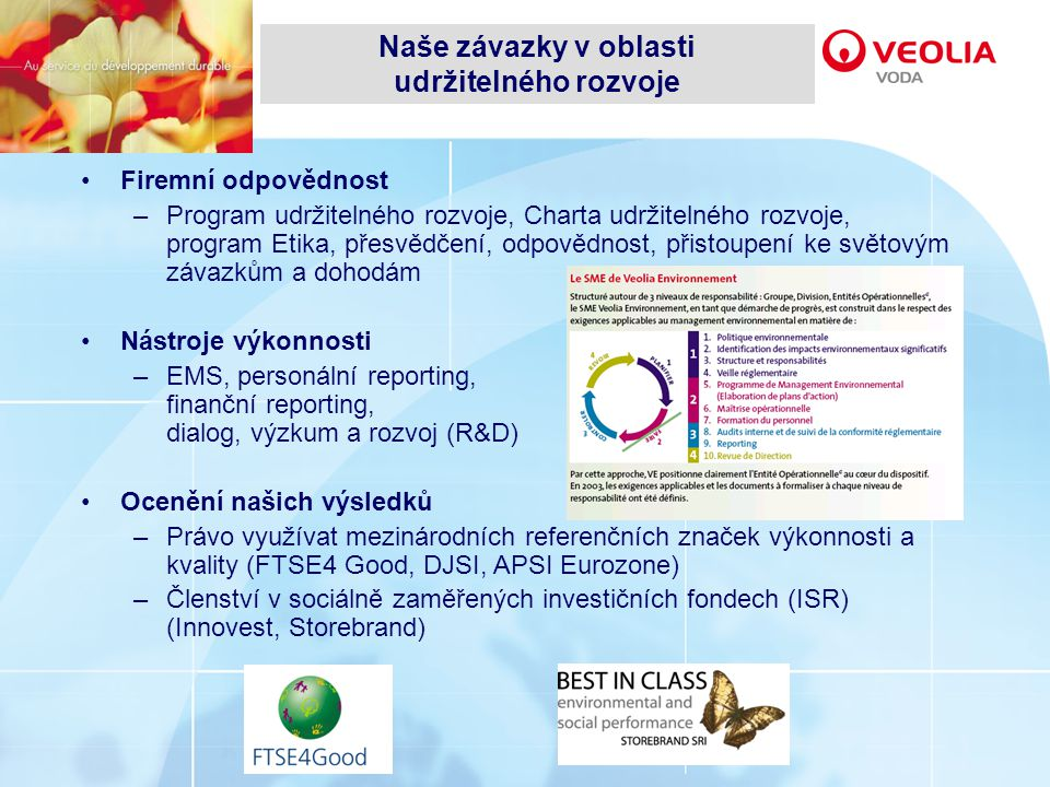 Firemní odpovědnost –Program udržitelného rozvoje, Charta udržitelného rozvoje, program Etika, přesvědčení, odpovědnost, přistoupení ke světovým závazkům a dohodám Nástroje výkonnosti –EMS, personální reporting, finanční reporting, dialog, výzkum a rozvoj (R&D) Ocenění našich výsledků –Právo využívat mezinárodních referenčních značek výkonnosti a kvality (FTSE4 Good, DJSI, APSI Eurozone) –Členství v sociálně zaměřených investičních fondech (ISR) (Innovest, Storebrand) Naše závazky v oblasti udržitelného rozvoje