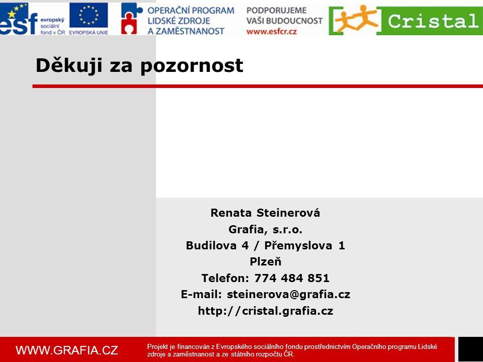 WWW.GRAFIA.CZ 10 Děkuji za pozornost Renata Steinerová Grafia, s.r.o. Budilova 4 / Přemyslova 1 Plzeň Telefon: 774 484 851 E-mail: steinerova@grafia.c
