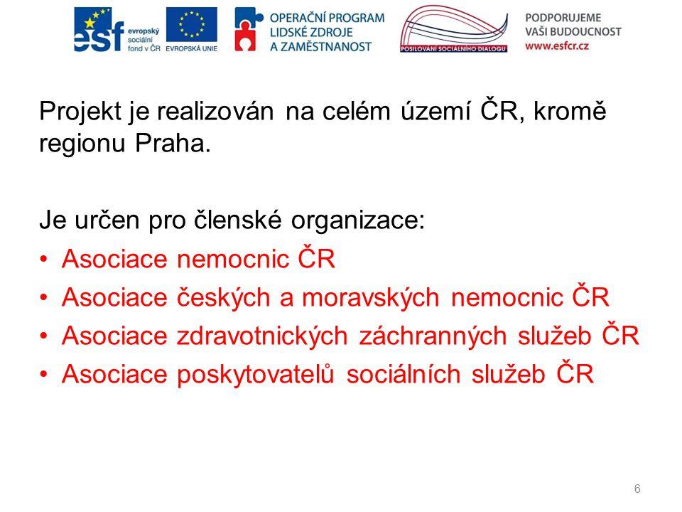 Projekt je realizován na celém území ČR, kromě regionu Praha. Je určen pro členské organizace: Asociace nemocnic ČR Asociace českých a moravských nemo