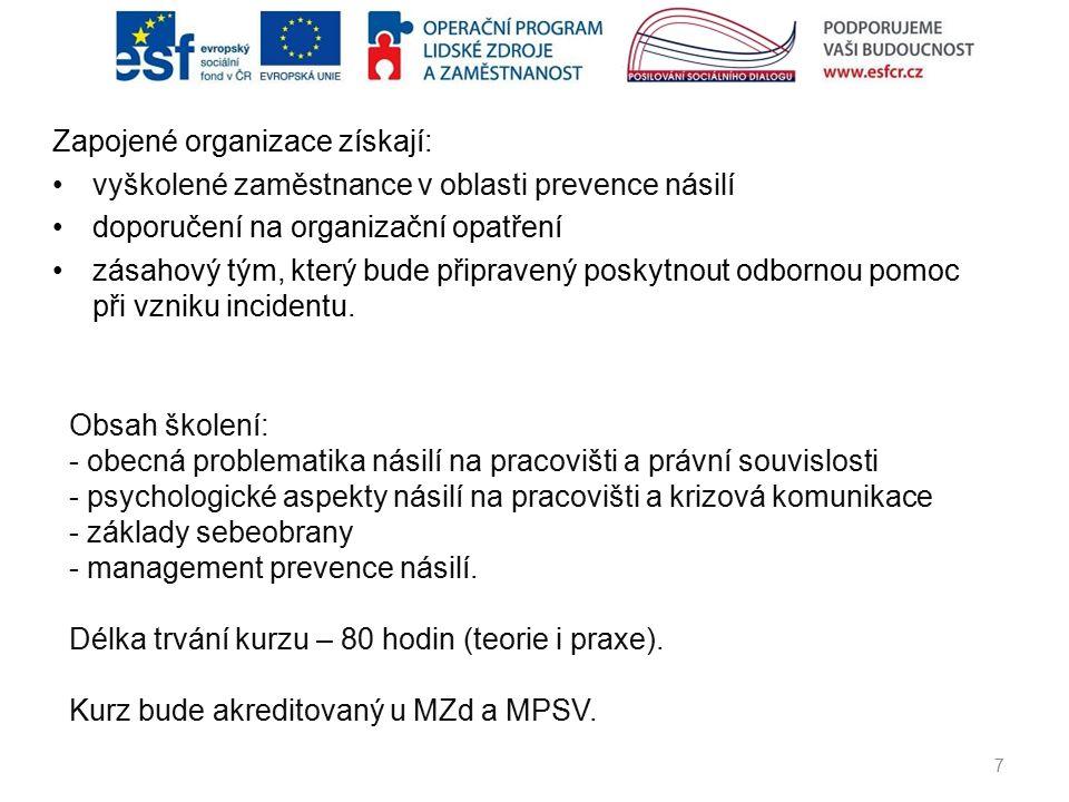 Zapojené organizace získají: vyškolené zaměstnance v oblasti prevence násilí doporučení na organizační opatření zásahový tým, který bude připravený po