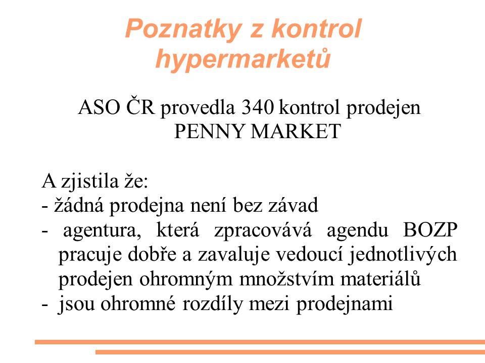 Poznatky z kontrol hypermarketů ASO ČR provedla 340 kontrol prodejen PENNY MARKET A zjistila že: - žádná prodejna není bez závad - agentura, která zpr