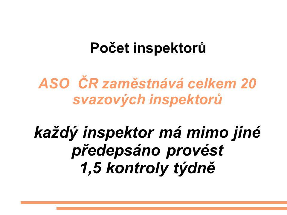 Počet inspektorů ASO ČR zaměstnává celkem 20 svazových inspektorů každý inspektor má mimo jiné předepsáno provést 1,5 kontroly týdně