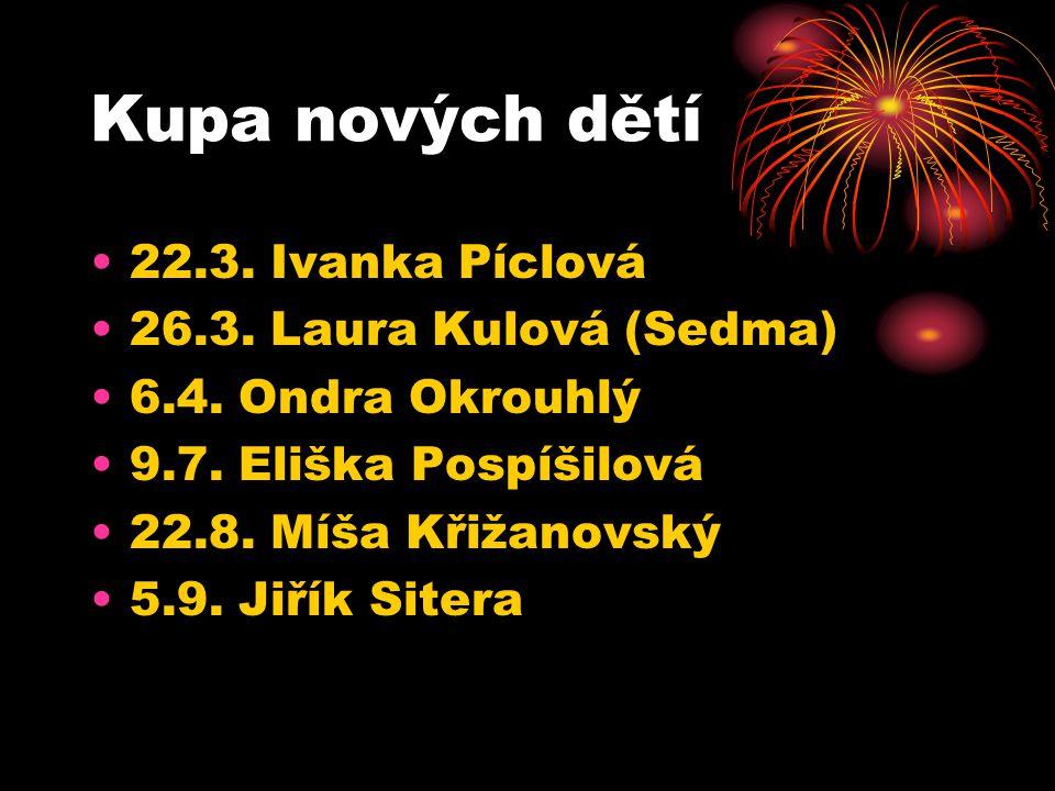 Kupa nových dětí 22.3. Ivanka Píclová 26.3. Laura Kulová (Sedma) 6.4.