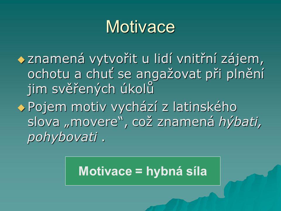 """Motivace  znamená vytvořit u lidí vnitřní zájem, ochotu a chuť se angažovat při plnění jim svěřených úkolů  Pojem motiv vychází z latinského slova """""""