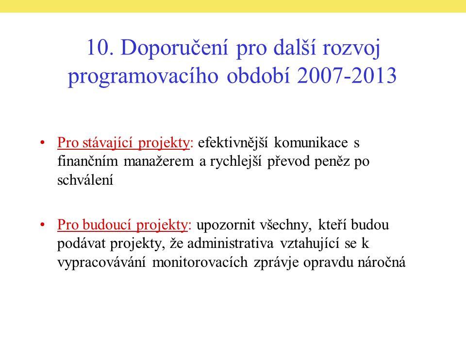 10. Doporučení pro další rozvoj programovacího období 2007-2013 Pro stávající projekty: efektivnější komunikace s finančním manažerem a rychlejší přev